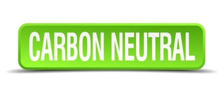 carbon monoxide: carbon neutral green 3d realistic square isolated button