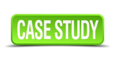 case study green 3d realistic square isolated button