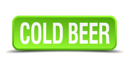 cold beer green 3d realistic square isolated button Vector