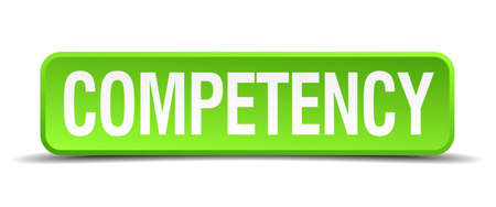 competency: competency green 3d realistic square isolated button