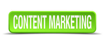 contention: content marketing green 3d realistic square isolated button Illustration