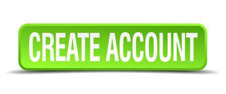 originate: create account green 3d realistic square isolated button