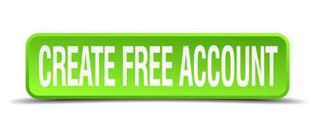 originate: create free account green 3d realistic square isolated button