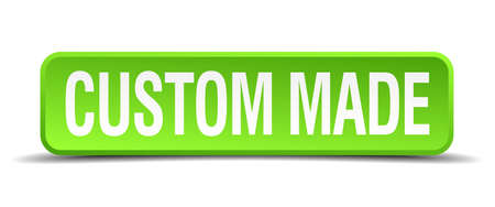custom made green 3d realistic square isolated button Illustration