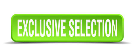 selectivity: exclusive selection green 3d realistic square isolated button