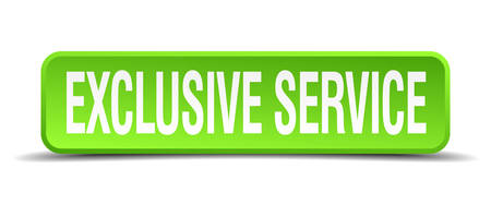 incompatible: exclusive service green 3d realistic square isolated button
