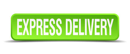 obvious: express delivery green 3d realistic square isolated button
