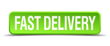 fast delivery: fast delivery green 3d realistic square isolated button