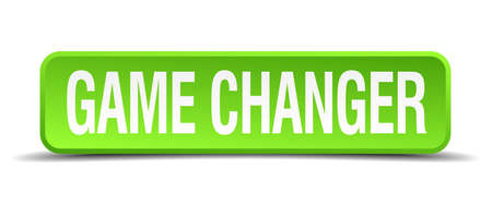 game changer green 3d realistic square isolated button