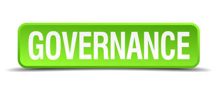 govern: Governance green 3d realistic square isolated button