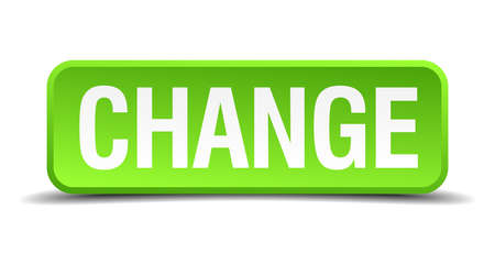 vary: change green 3d realistic square isolated button