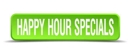happy hour specials green 3d realistic square isolated button Vector