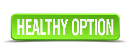 healthy option green 3d realistic square isolated button Vector