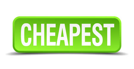 cheapness: cheapest green 3d realistic square isolated button
