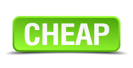 cheapness: cheap green 3d realistic square isolated button Illustration