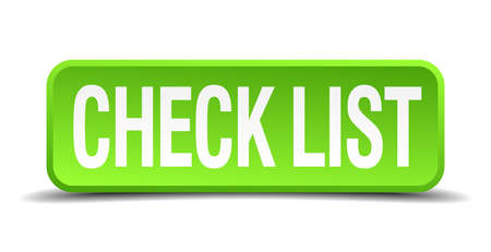 enlist: check list green 3d realistic square isolated button Illustration
