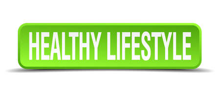 hearty: healthy lifestyle green 3d realistic square isolated button