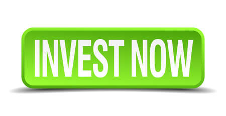 invest now green 3d realistic square isolated button Çizim