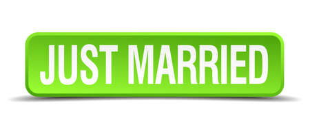 allied: just married green 3d realistic square isolated button Illustration