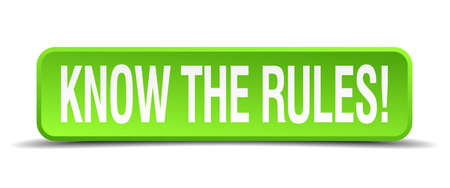 govern: know the rules green 3d realistic square isolated button Illustration