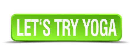 essayer: Essayons yoga vert 3d r�aliste bouton isol� carr� Illustration