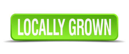 home grown: locally grown green 3d realistic square isolated button