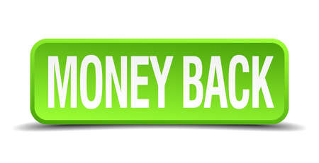 surety: money back green 3d realistic square isolated button