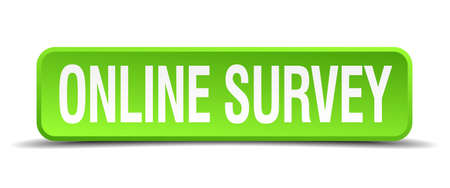 online survey: online survey green 3d realistic square isolated button