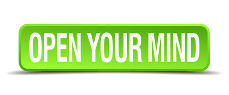 bias: open your mind green 3d realistic square isolated button