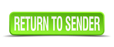 consignor: return to sender green 3d realistic square isolated button