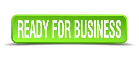 emprendimiento: listo para los negocios verdes 3d aislado bot�n cuadrado realista Vectores