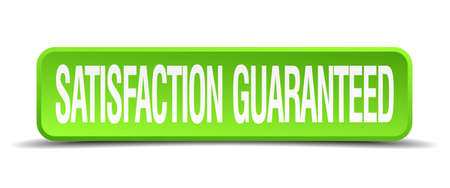 restitution: satisfaction guaranteed green 3d realistic square isolated button Illustration