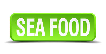 sea food: sea food green 3d realistic square isolated button