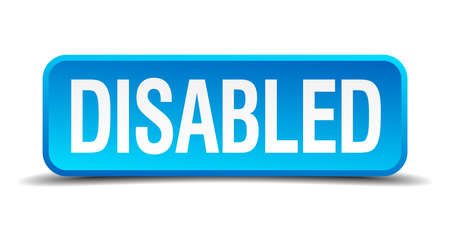 disabled access: disabled blue 3d realistic square isolated button