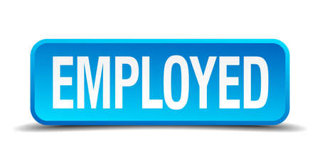 employed: employed blue 3d realistic square isolated button