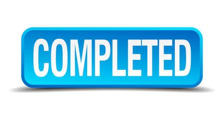 completato: completato blu 3d pulsante realistico isolato quadrato Vettoriali