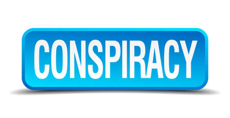 intrigue: conspiracy blue 3d realistic square isolated button Illustration