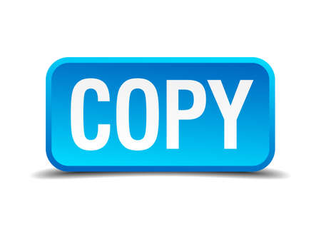 replicated: copy blue 3d realistic square isolated button