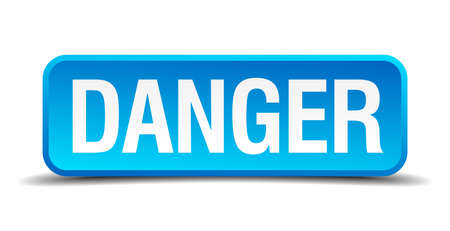 danger blue 3d realistic square isolated button Vector