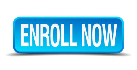 enroll now blue 3d realistic square isolated button