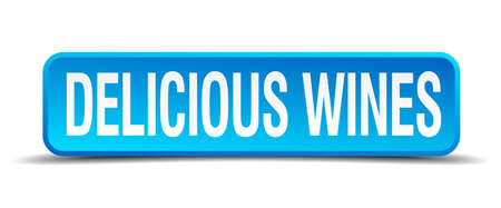 wines: delicious wines blue 3d realistic square isolated button