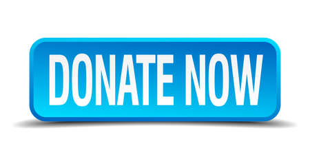 donate now blue 3d realistic square isolated button Illustration