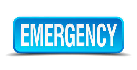 emergency blue 3d realistic square isolated button Vector