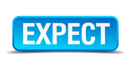 expect: expect blue 3d realistic square isolated button