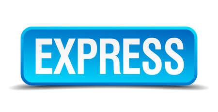 explicit: express blue 3d realistic square isolated button