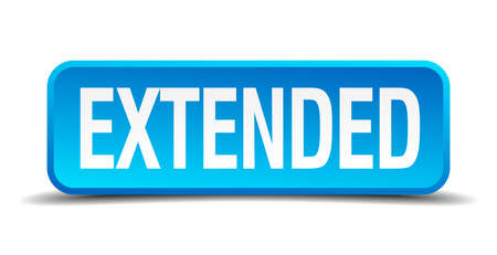 extended blue 3d realistic square isolated button