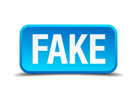 counterfeit: fake blue 3d realistic square isolated button