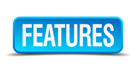 featured: features blue 3d realistic square isolated button