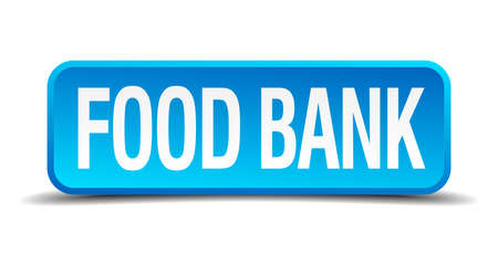 charitable: food bank blue 3d realistic square isolated button