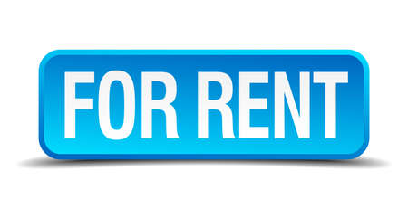 renter: for rent blue 3d realistic square isolated button